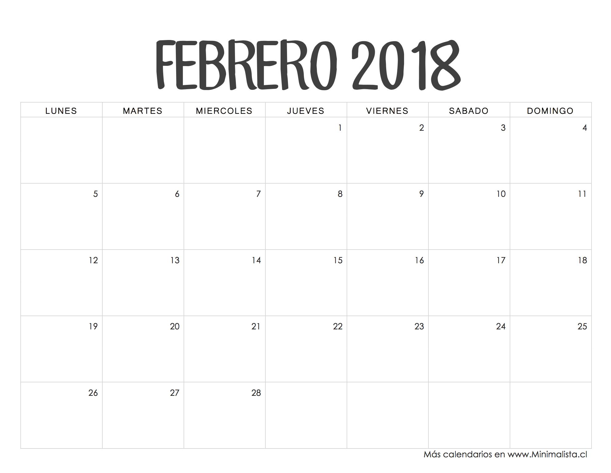febrero de 2019 calendario gratis