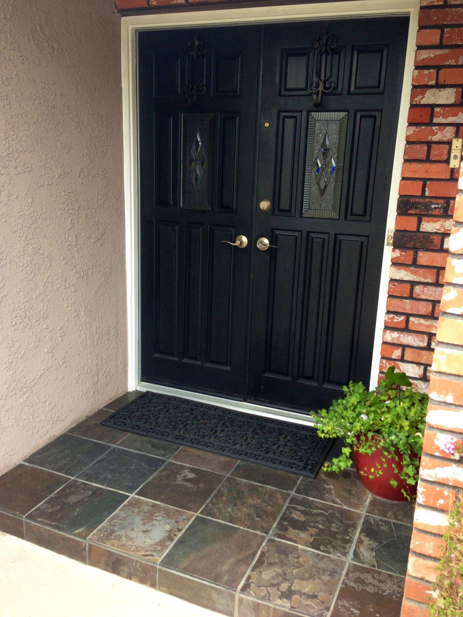 Slate Tile On Front Porch Dresses Up Entry Front Porch Steps