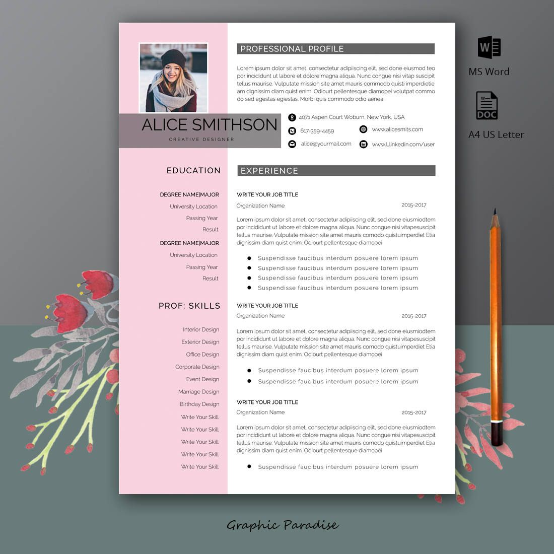 Professional Resume Template Instant Download Resume With Photo