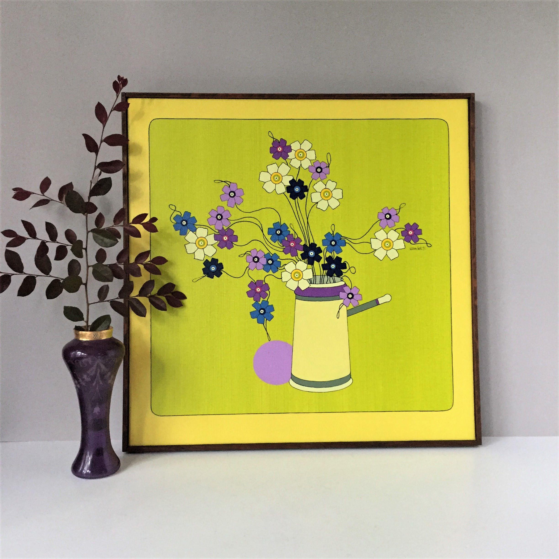 John Sember Original Painting, 1971 Canvas Art, Groovy Flower Power ...