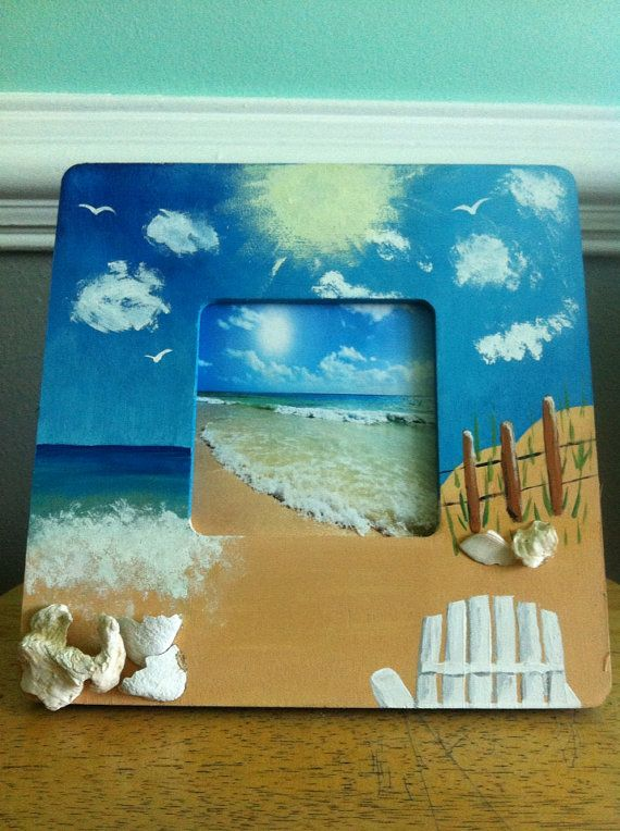 Hand Painted Beach Scene Picture Frame By Bonnieshandmadecraft 15 00 Beach Scene Pictures Beach Scene Painting Hand Painted