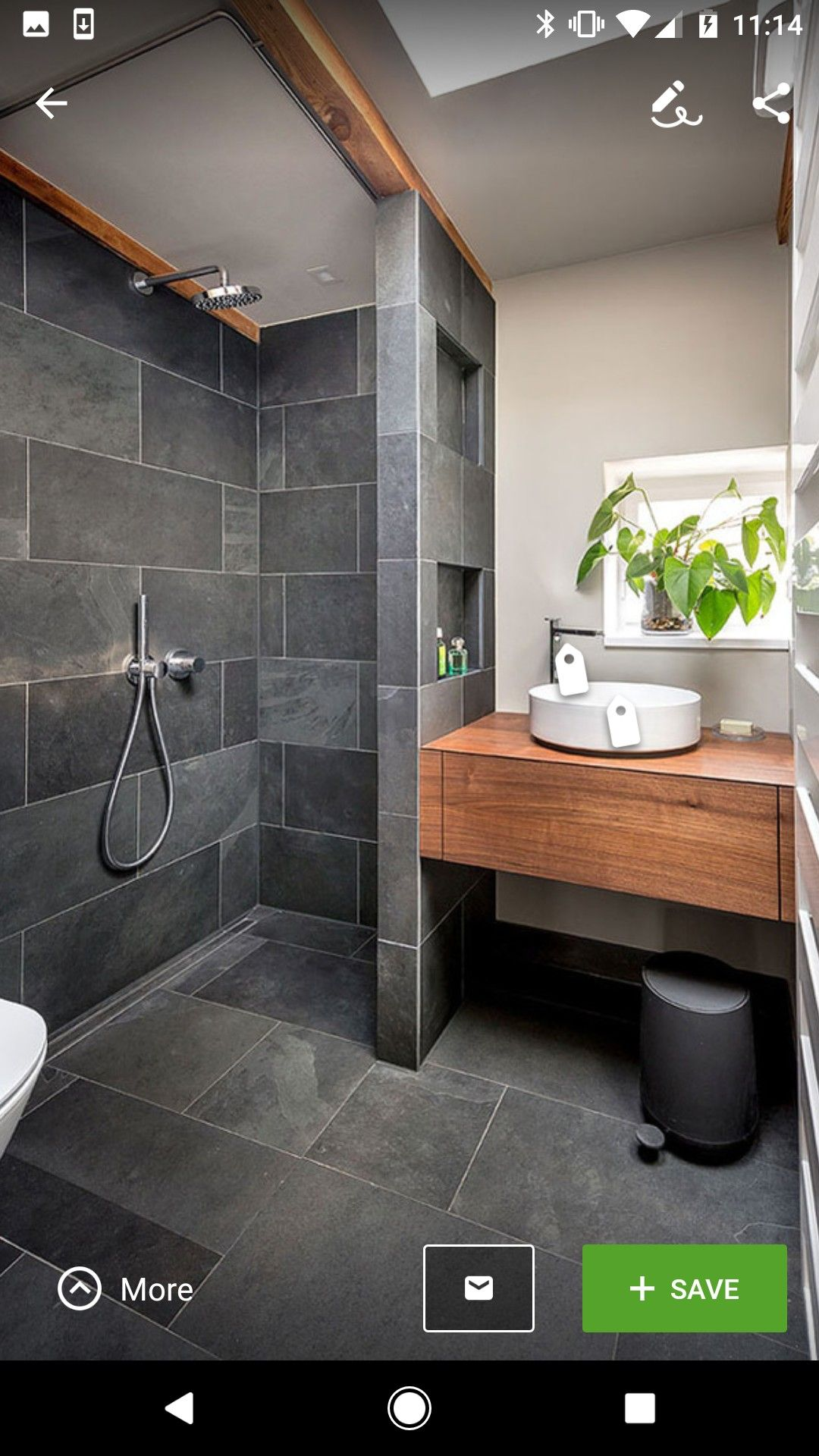 Wet Room Design With Track For Shower Curtain Up High And Hidden