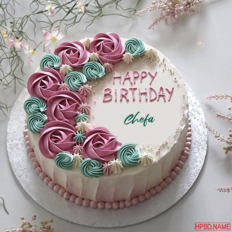 Flower Buttercream Roses Cake With Name Online Buttercream Birthday Cake Rose Cake Birthday Cake For Women Simple