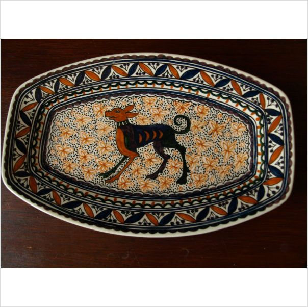 Real Ceramica Coimbra Pottery Dog Dish Handpainted On