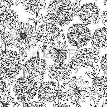 Floral Seamless Avec Des Fleurs Differentes Noir Et Blanc En 2019