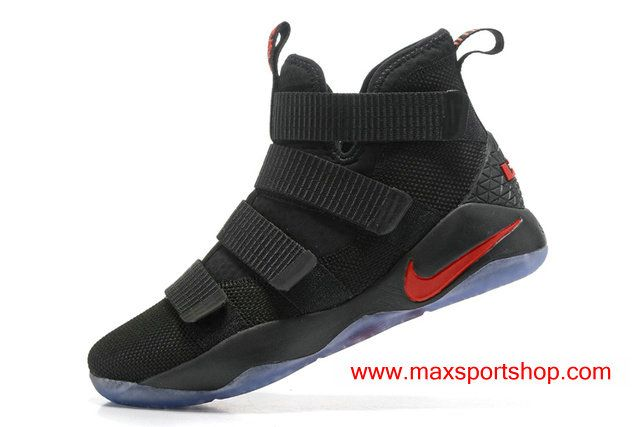 $76.00 Nike LeBron Soldier XI Black Red Best Colorway Men's Basketball Shoes
