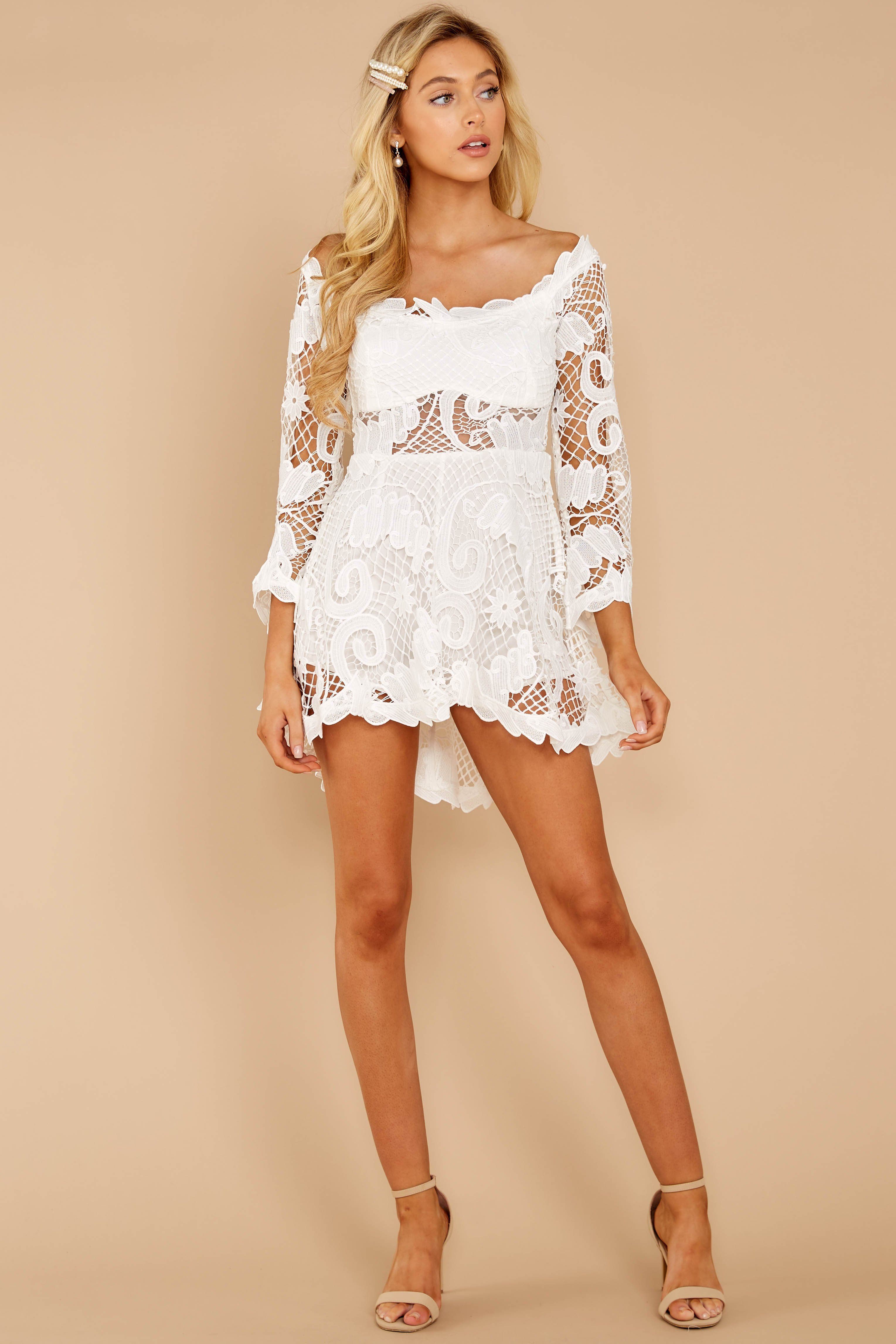 Gorgeous White Lace Dress Long Sleeve Romper Dress Dress 70 Red Dress White Lace Romper Lace Romper Lace White Dress [ 4585 x 3057 Pixel ]
