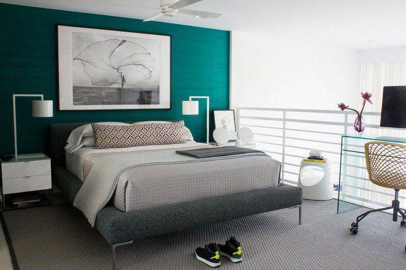 bleu turquoise et gris en 30 id es de peinture et d coration bedrooms chambre chambre grise. Black Bedroom Furniture Sets. Home Design Ideas