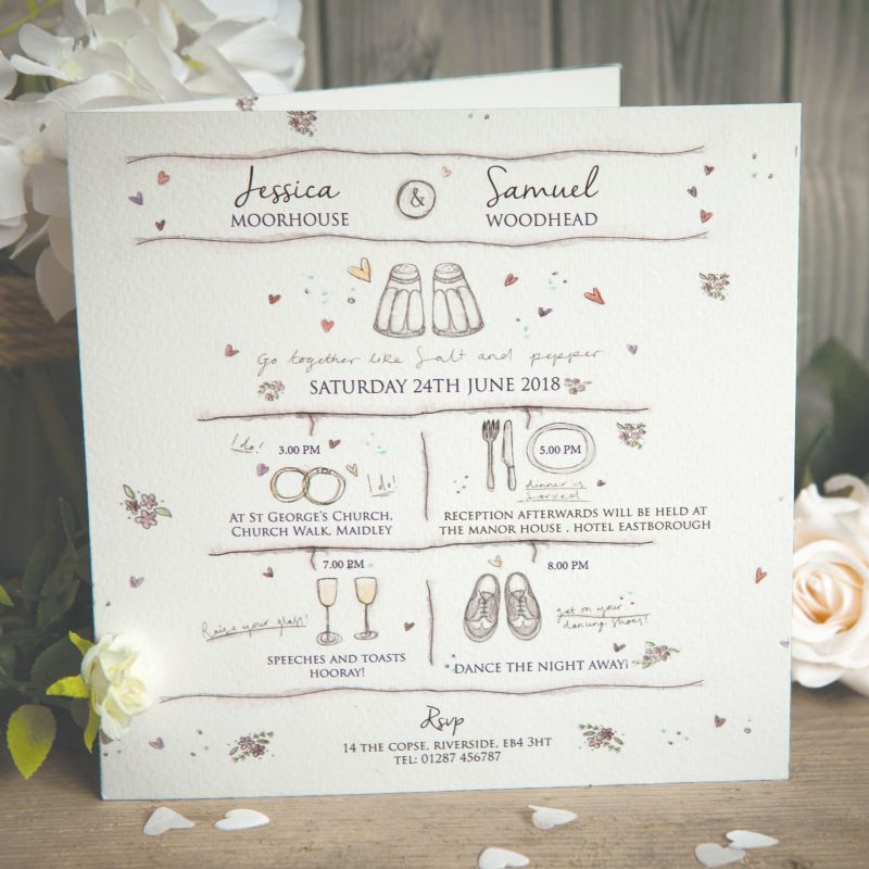 Personlise This Timeline Style Invitation With All Your Wedding Day Time Wedding Invitations Rustic Personalised Wedding Invitations Wedding Invitations Online