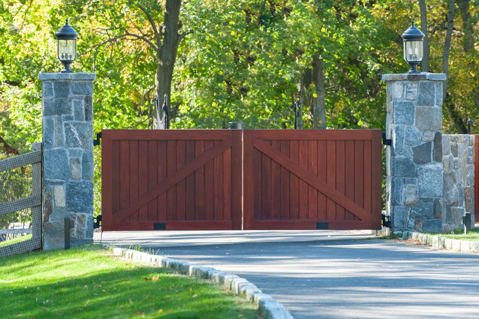 Driveway Gate In A Rich Mahogany Stain