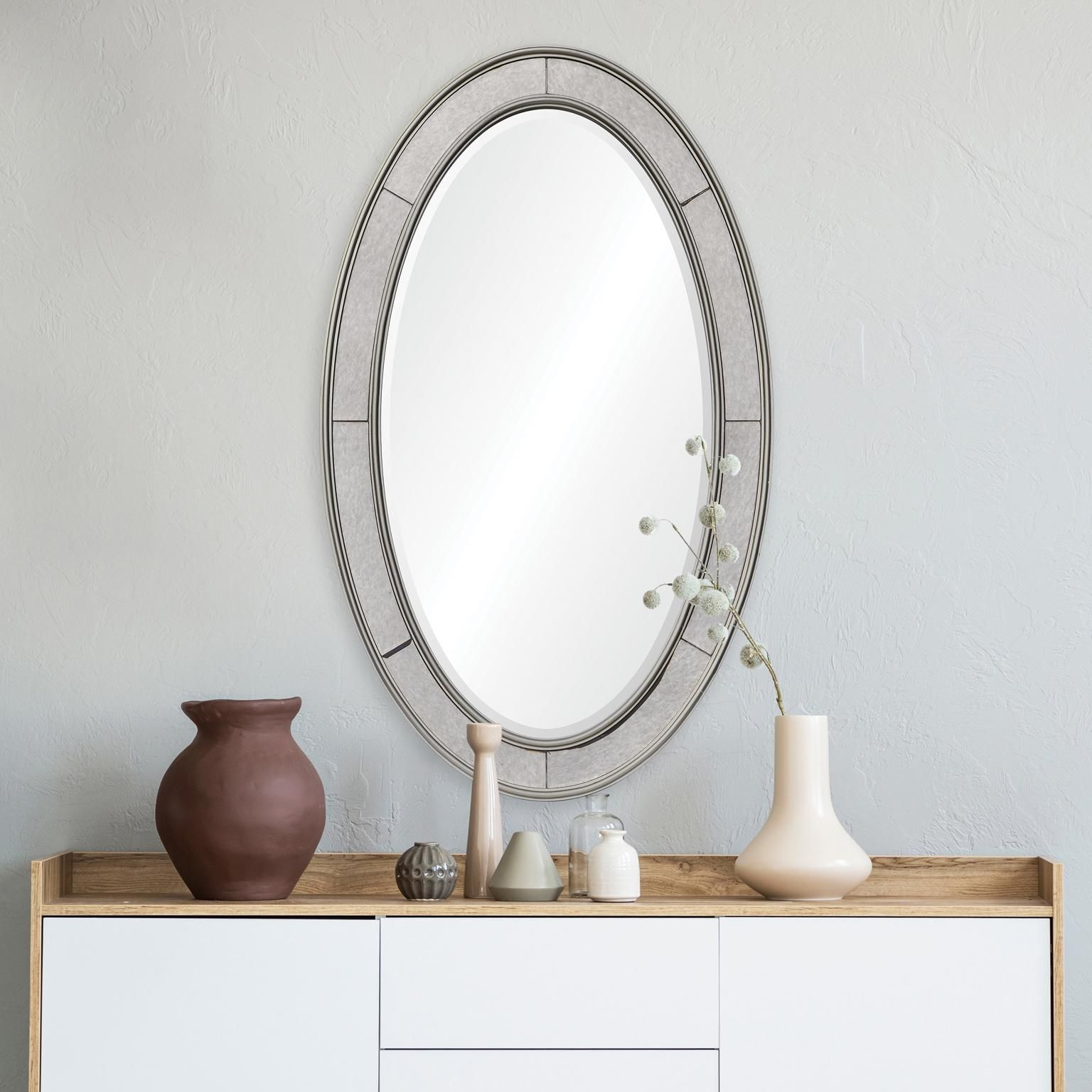 nana champagne silver 24 inch x 40 inch oval wall mirror on wall mirrors id=84310