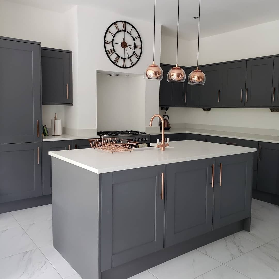 Howdens On Instagram Take Inspiration From Hannah Hitchen And Pair Grey Kitchen Cabinets With Copper Grey Kitchen Designs Grey Kitchen Cabinets Grey Kitchen