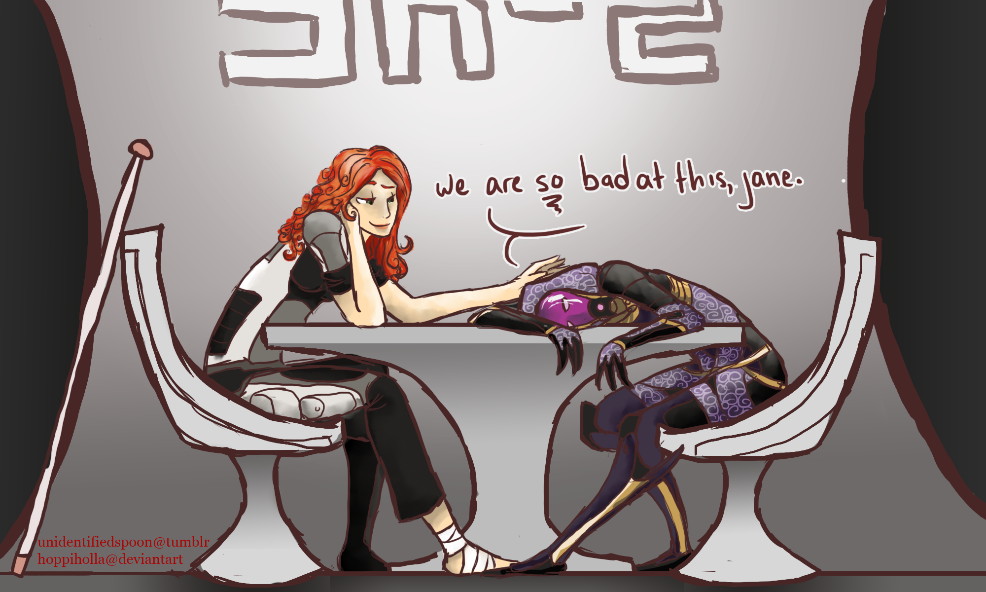 Shepard and Tali - Sense and Flexibility - By Hoppiholla