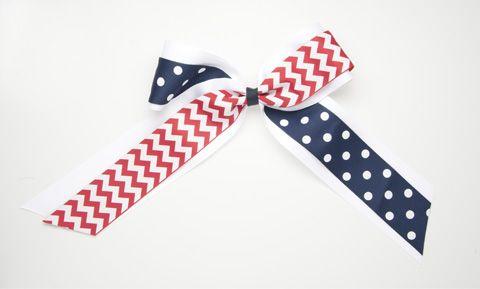 Navy Blue & Red Medium Overlay Cheer Bow
