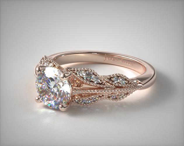 14k Rose Gold Vintage Inspired Floral Bouquet Engagement Ring In 2020 Unique Engagement Rings Antique Engagement Rings Dream Engagement Rings