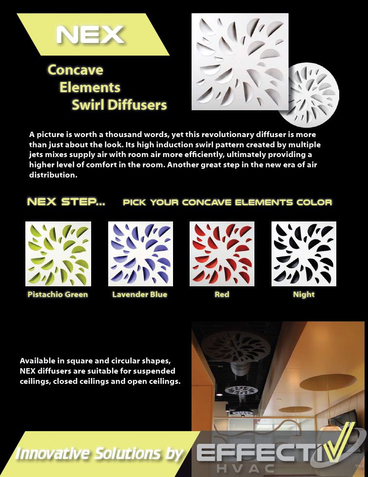 Nex S Architectural Concave Elements Square Swirl Diffuser With