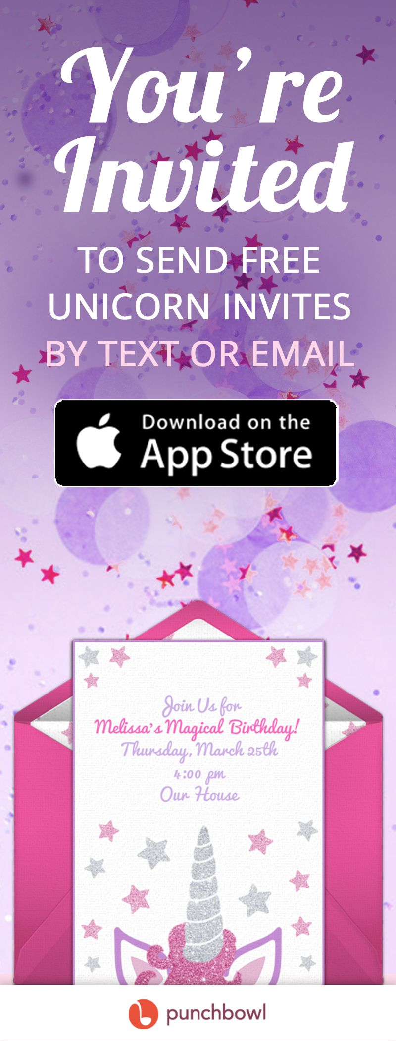 Send Free Unicorn Invitations By Text Message Right From Your Phone And Get RSVPs Instantly With