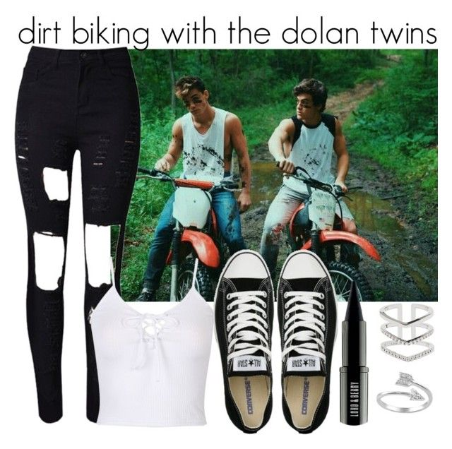 """""""dirt biking with the Dolan twins"""" by eden-nialler-girl ❤ liked on Polyvore featuring WithChic, Converse, Lord & Berry, Astrid & Miyu and Journee Collection"""