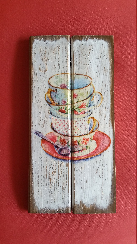Multi Color Tea Cups Art Coffee Cups Decor Kitchen Wall Decor Unique Coffee Cups Decor Coffee Shop Deco Coffee Art Painting Trendy Wall Art Etsy Art Prints