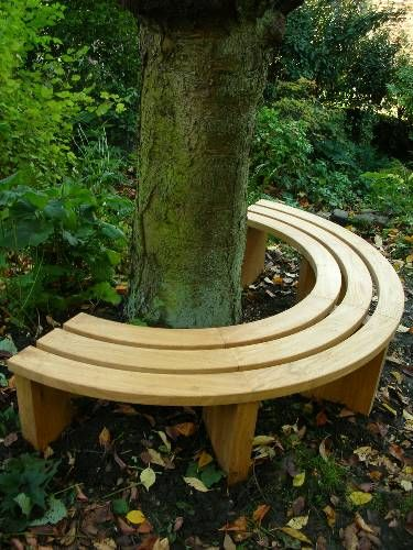 Semi Circle Oak Tree Seat Yard In 2019 Tree Bench