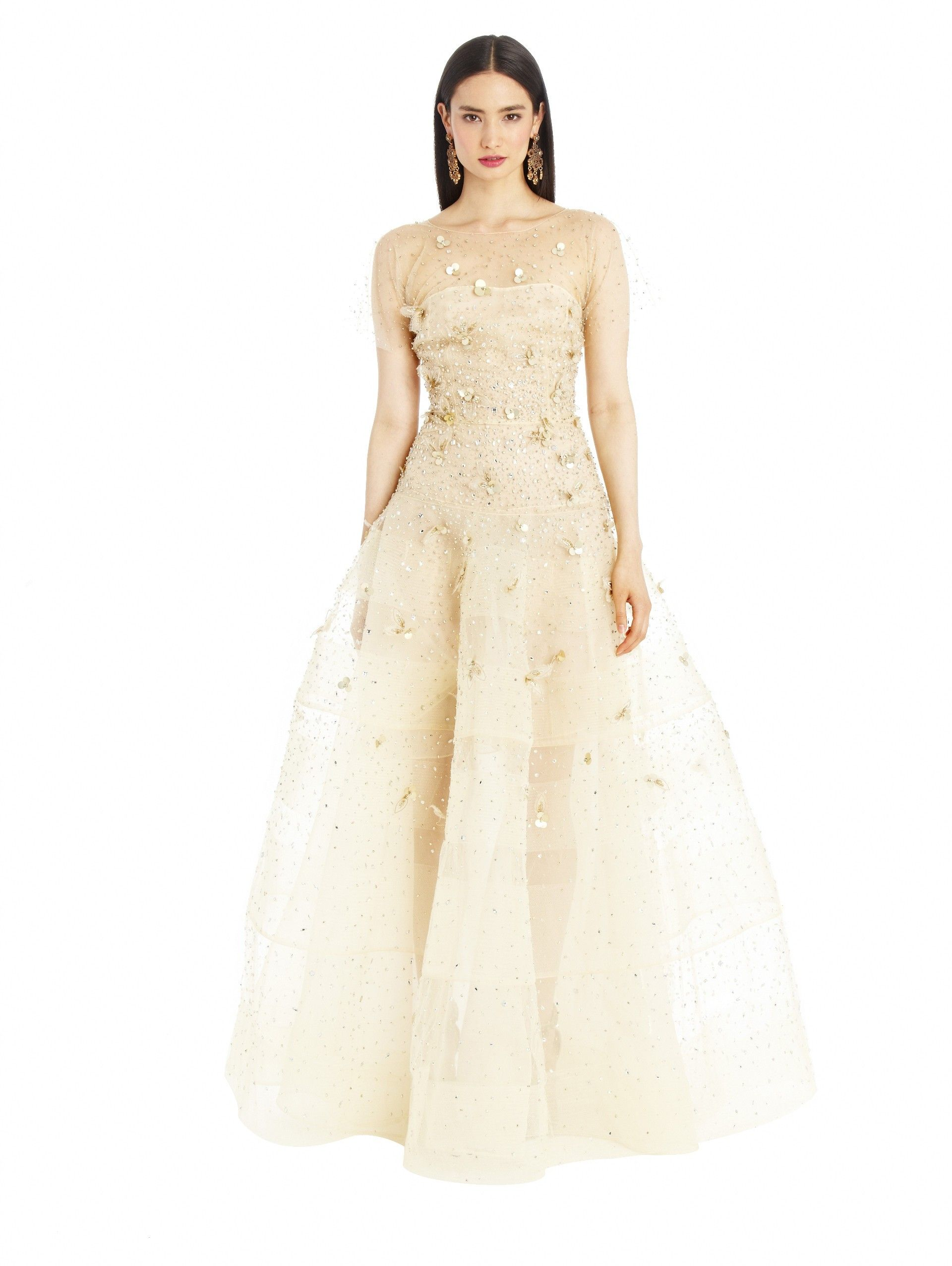 Oscar De La A Gold Illusion Tulle Embroidered Drop Waist Gown
