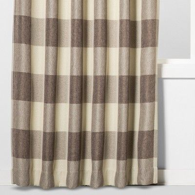 84 X52 Larkhall Plaid Blackout Window Curtain Panel Brown Cream