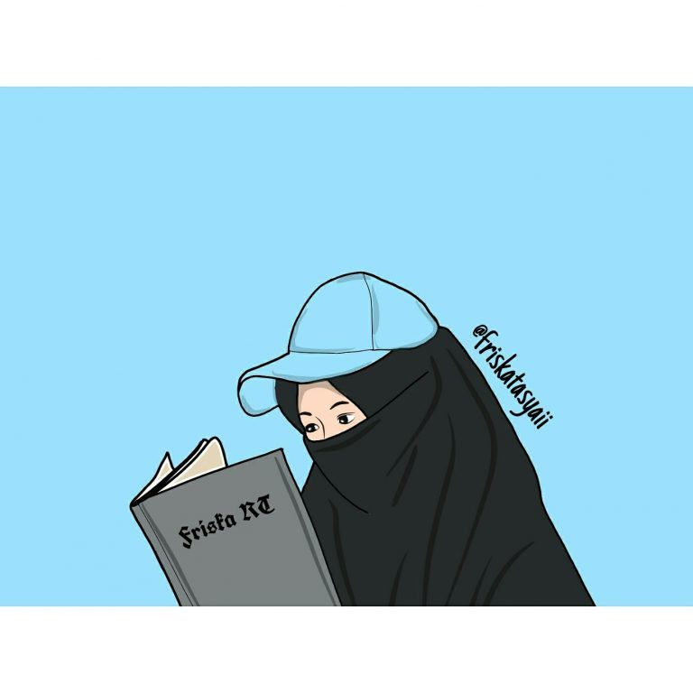 Gambar Kartun Muslimah Bercadar Membaca Buku Kartun Gambar Animasi