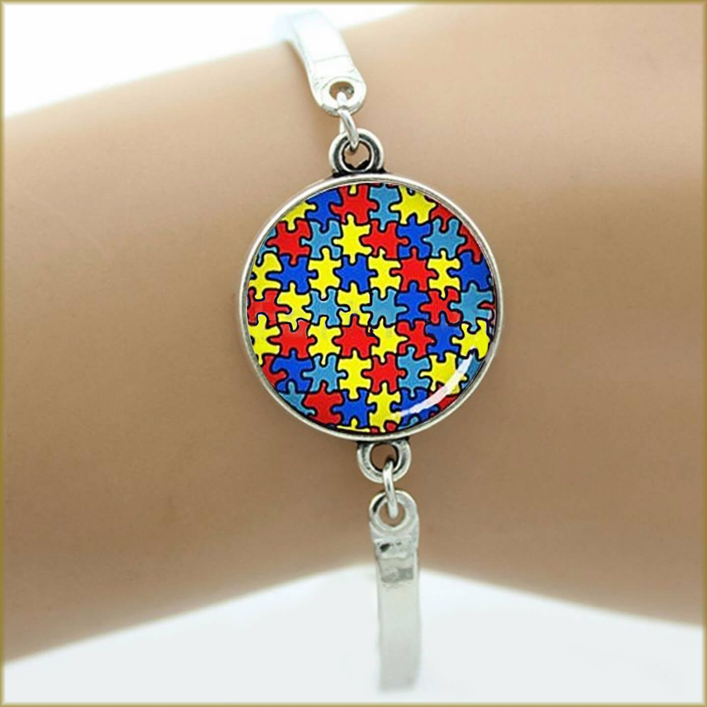 leather pin symbol colored colors charm with jigsaw silver autism bracelet