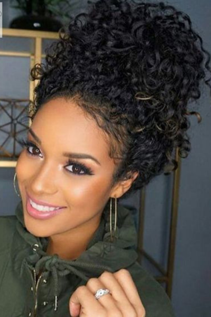 20 Easy Everyday Hairstyles For Black Women Hairstyle On Point Cute Curly Hairstyles Curly Hair Styles Medium Hair Styles