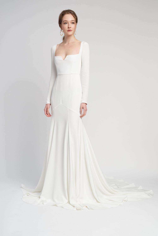 Square Neck Long Sleeve Wedding Dress Google Search In 2020 Sleeved Wedding Wedding Dresses Alexandra Grecco Bridal