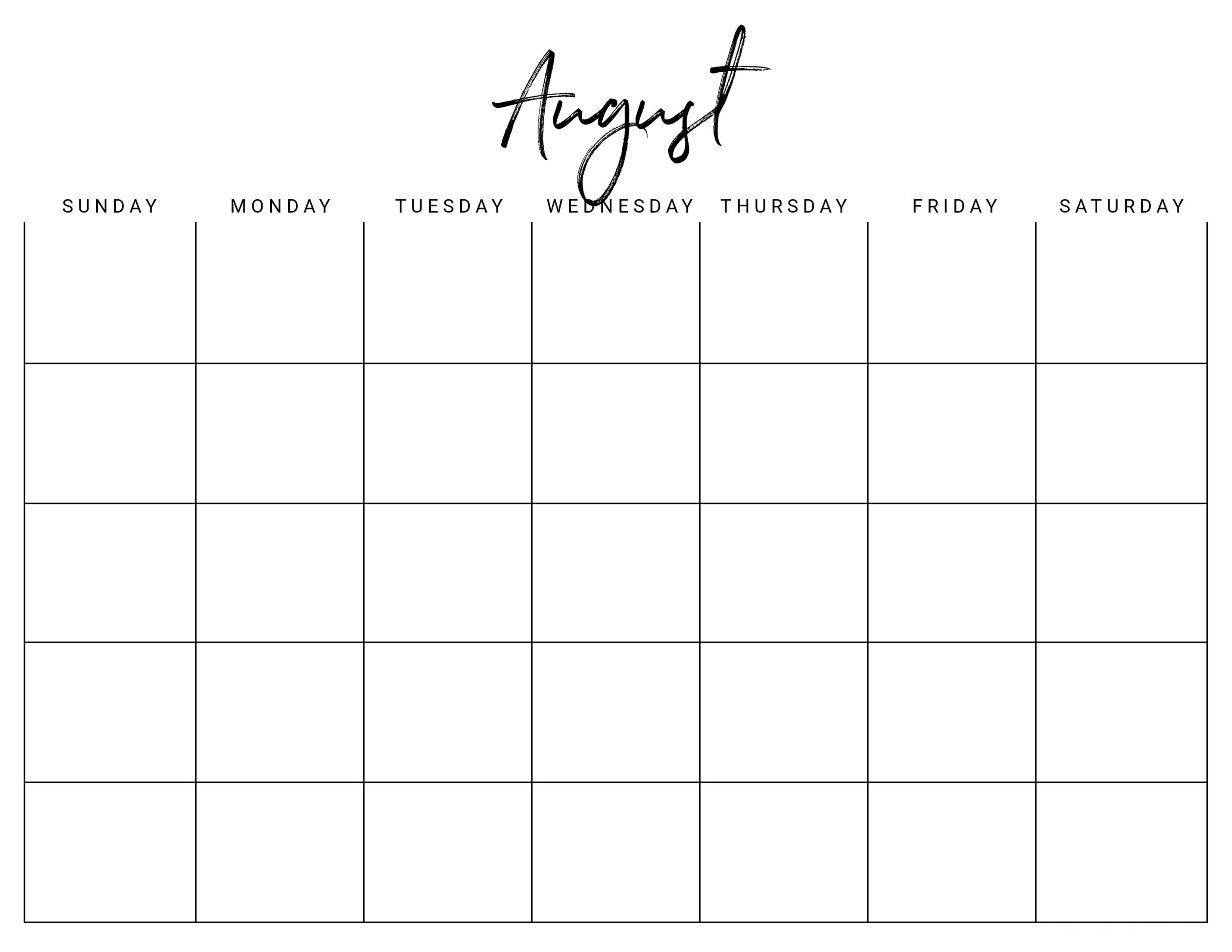 Calendar Free August Template With Holidays Dengan