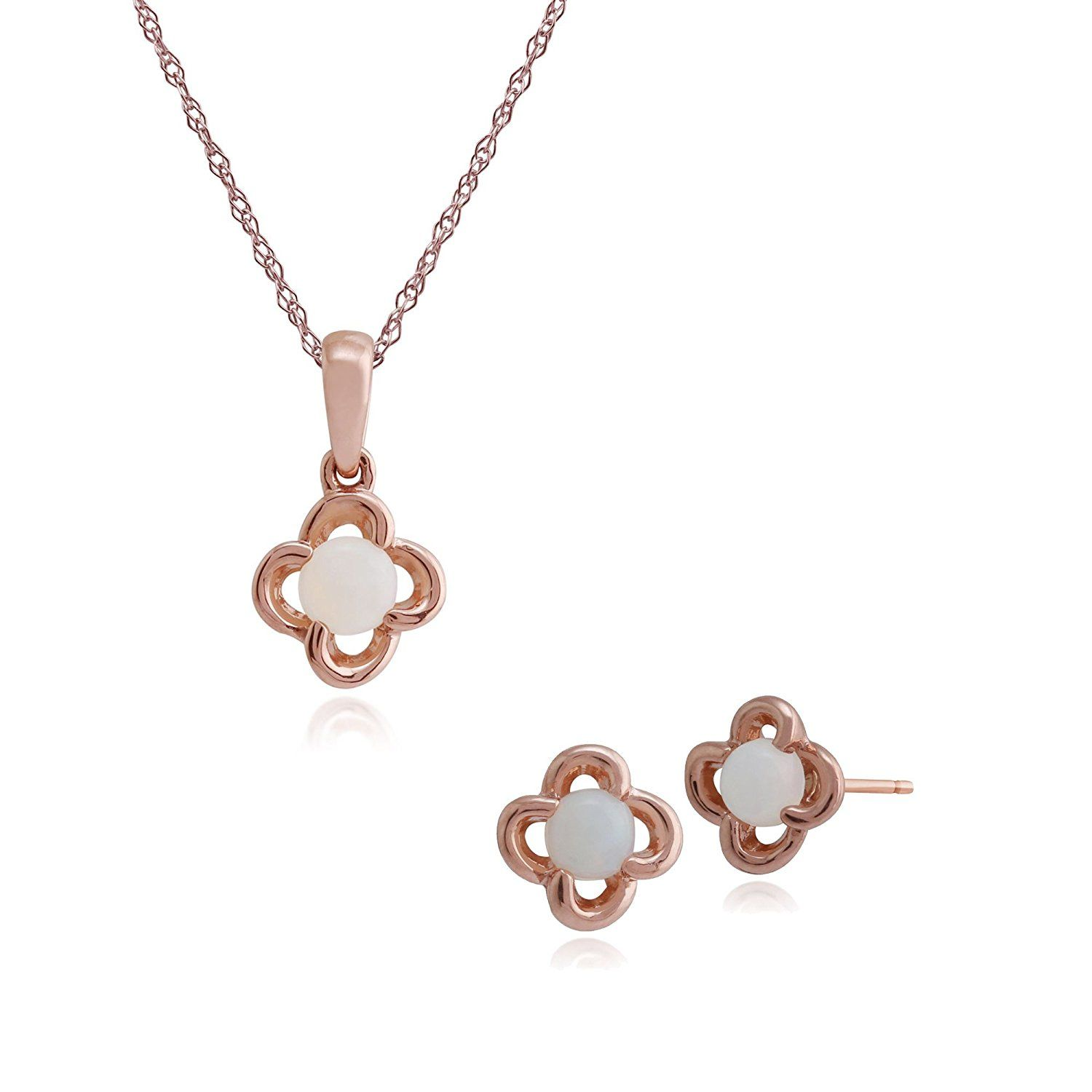 dc8abbe3a Gemondo 9ct Rose Gold Opal Floral Stud Earring and 45cm Necklace Set ***  Learn more by visiting the image link. #finejewelry