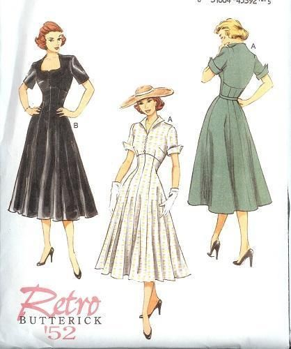 Vtg 40s Retro Button Front Flutter Sleeve Dress Sun Hat Sew Pattern 6 8 10 12 14