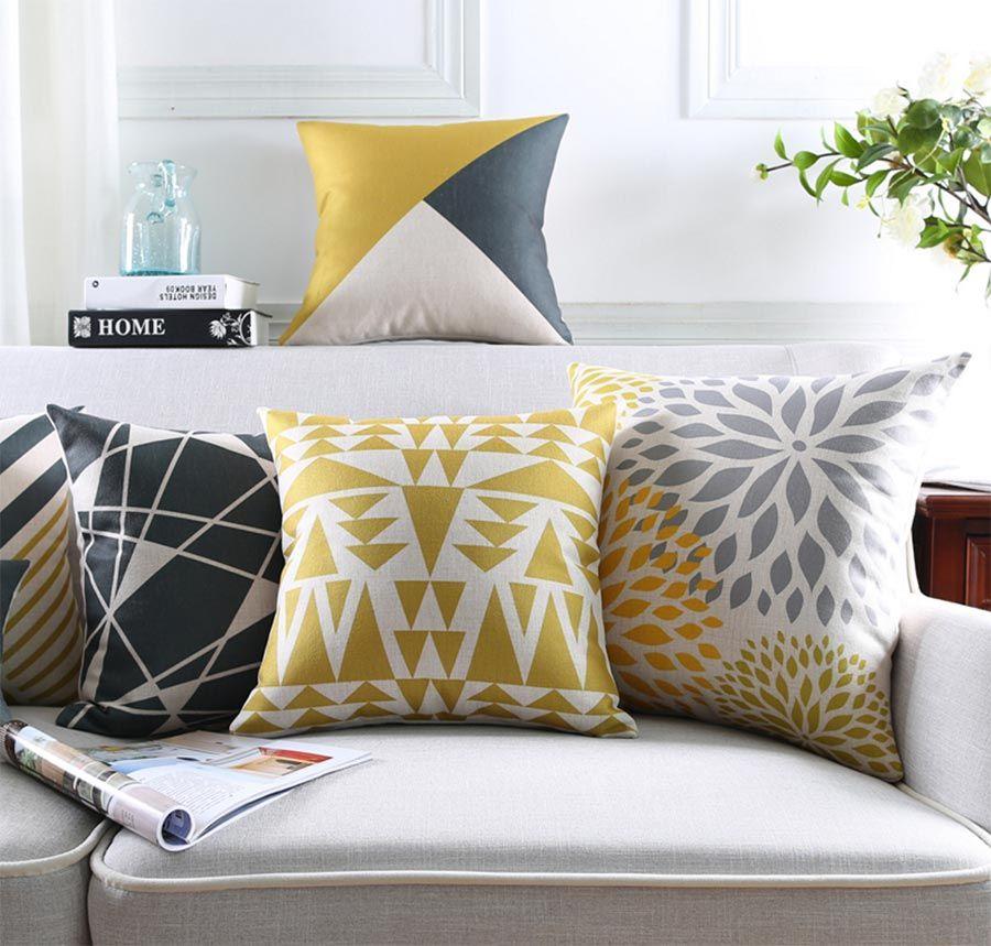 Frete Grátis!! Abstrata geométrica praça throw pillow/almofadas caso 45 53 30x50 adulto, amarelo preto capa de almofada casa decore(China (Mainland))