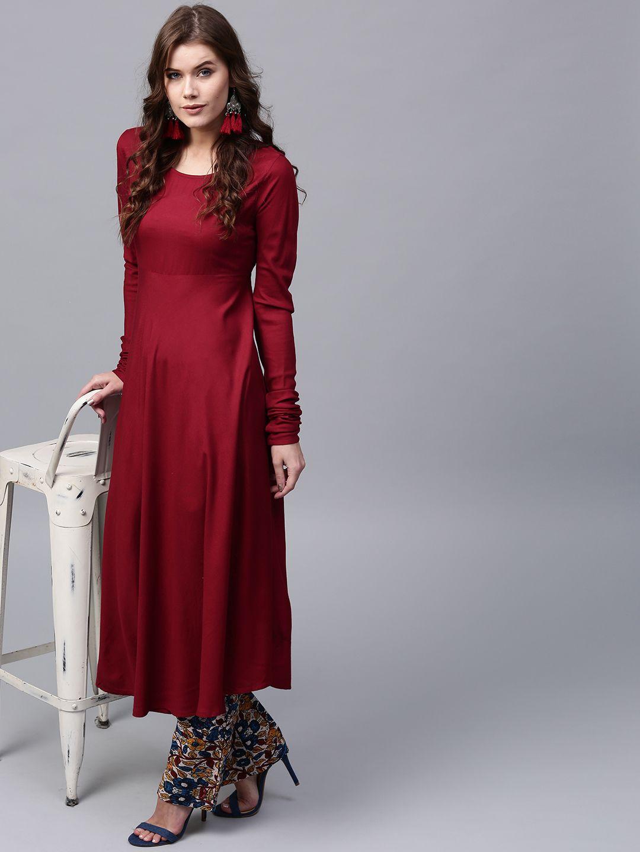 0f47e75ba Buy AKS Women Maroon Solid Anarkali Kurta - Kurtas for Women 2262325 ...