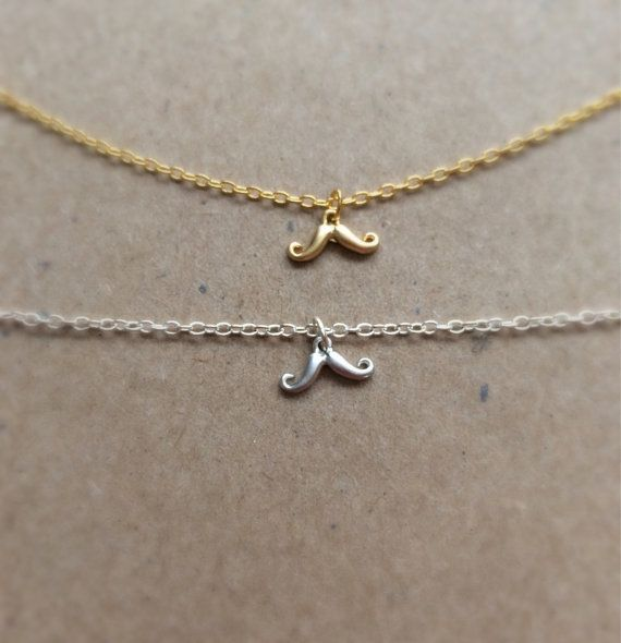 Tiny Mustache Necklace 16 k gold plated rhodium by JewelrybyB