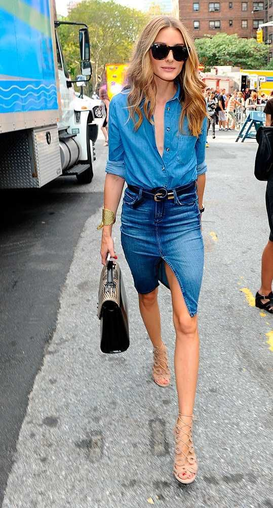 Denim + chambray at the NYFW Front Row: Olivia Palermo or