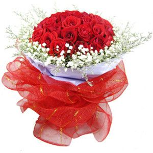 Attractive Smile  48 red roses matched with babybreath, purple paper inside wrapped,white gauze outside, hand banquet.