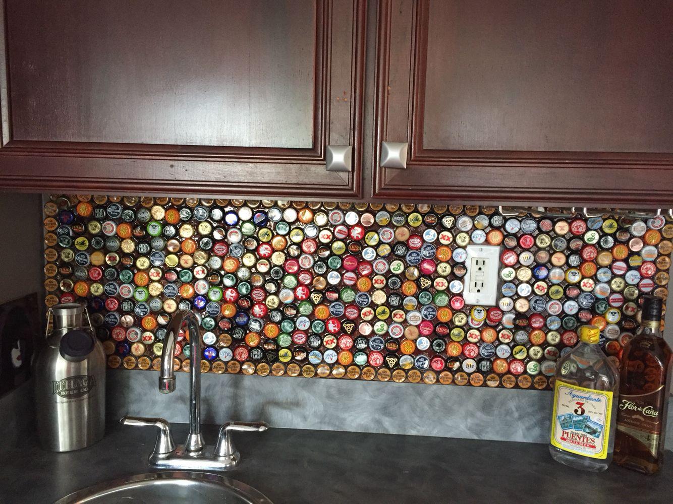 - Bottle Cap Backsplash Bottle Cap, Home Gym Design, Lounge Colour