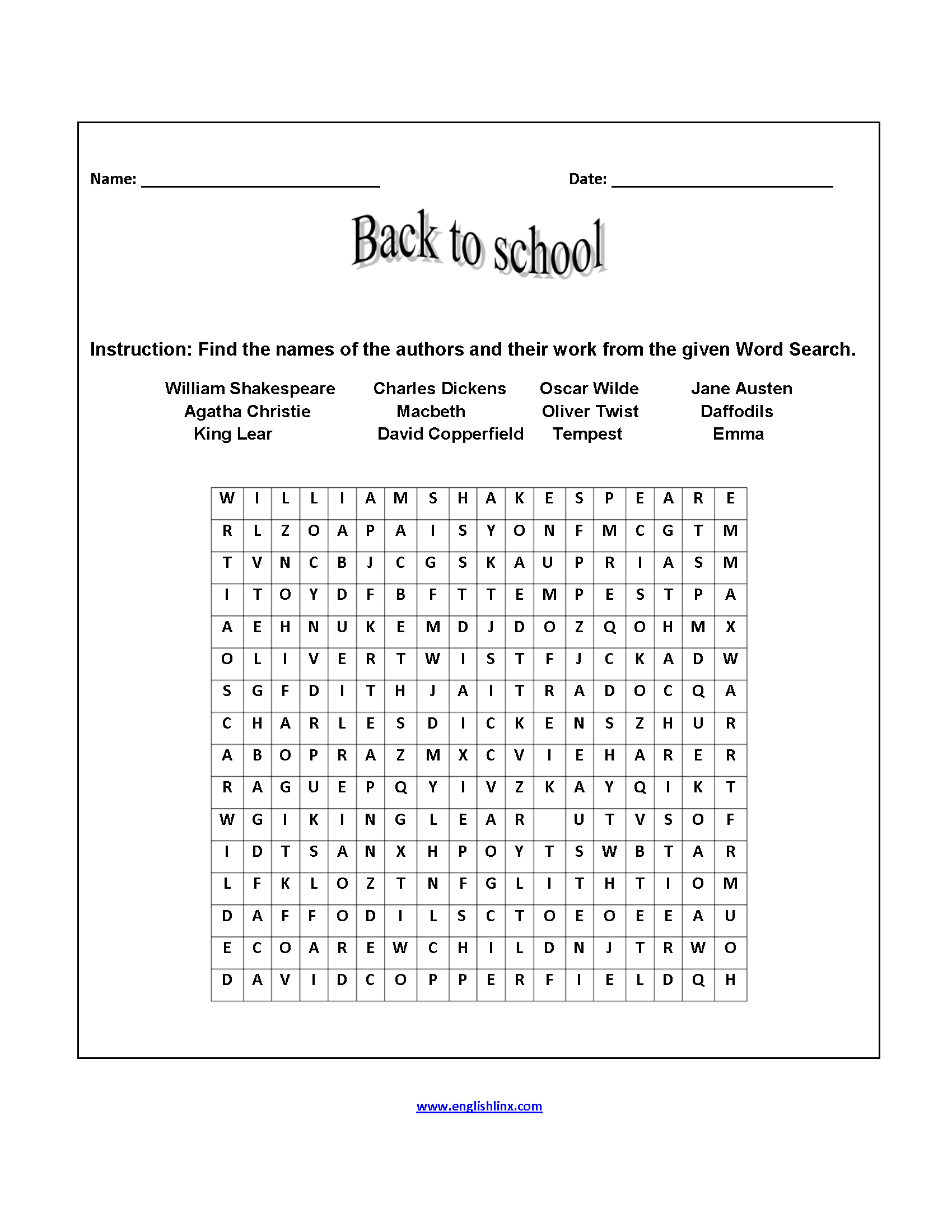 Free Back To School Worksheets 2nd Grade Pictures