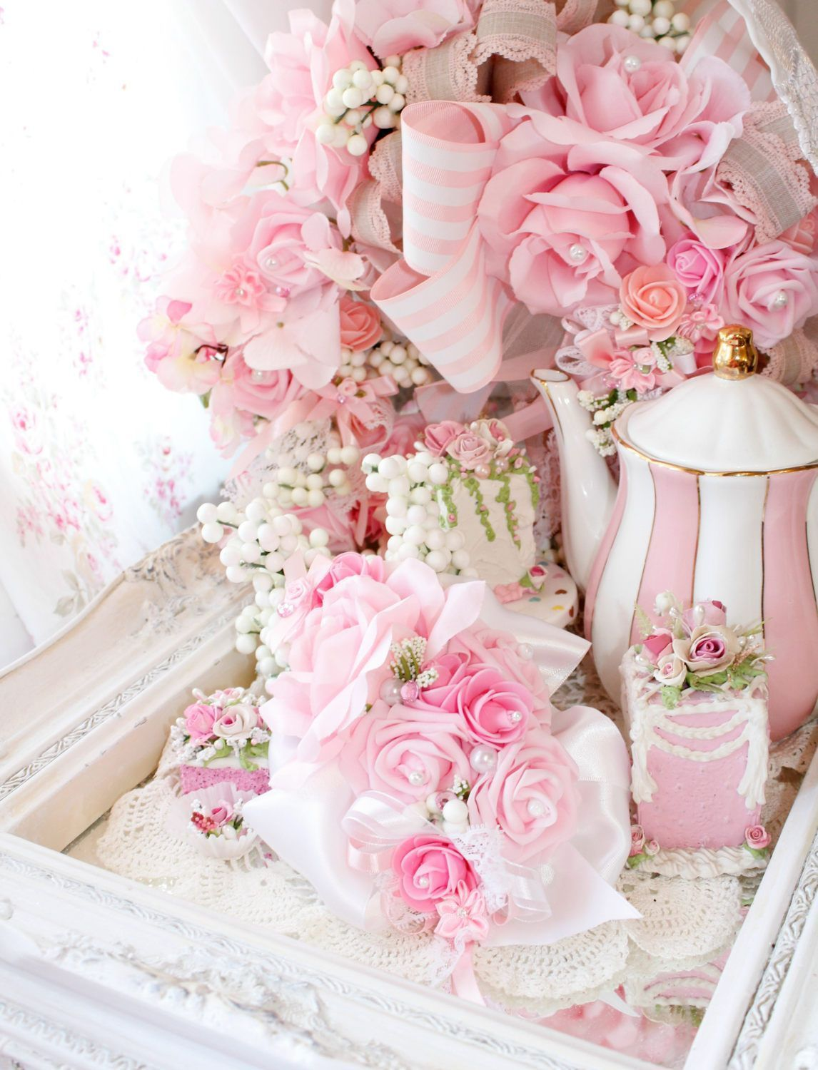 Bella Pink Princess Easter Floral Roses and Romance Luxe Chic Table ...