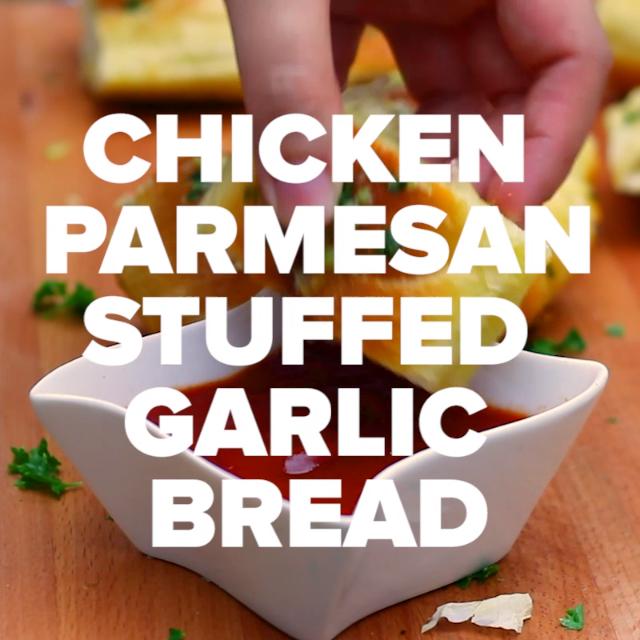 Easy Chicken Parmesan Stuffed Garlic Bread Recipe images