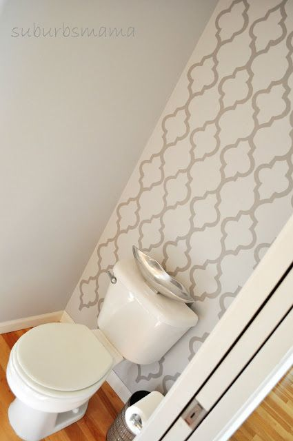 Stenciled Wall Behind Toilet And Carry Up To Ceiling. Paint Other Walls A  Rich Complimentary Color: Guest Bath Idea