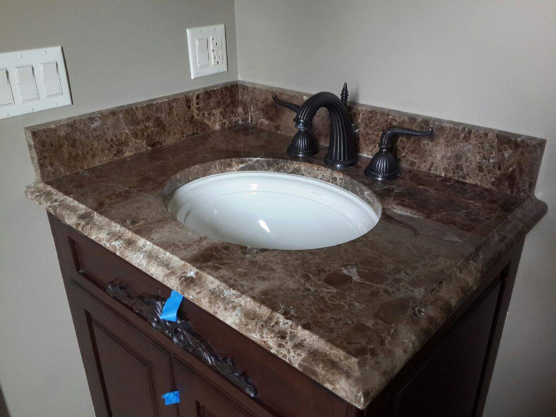 Emperador Dark Marble Vanity Top Chicago Instalation Marble Vanity Tops Bathroom Countertops Rustic Laundry Rooms