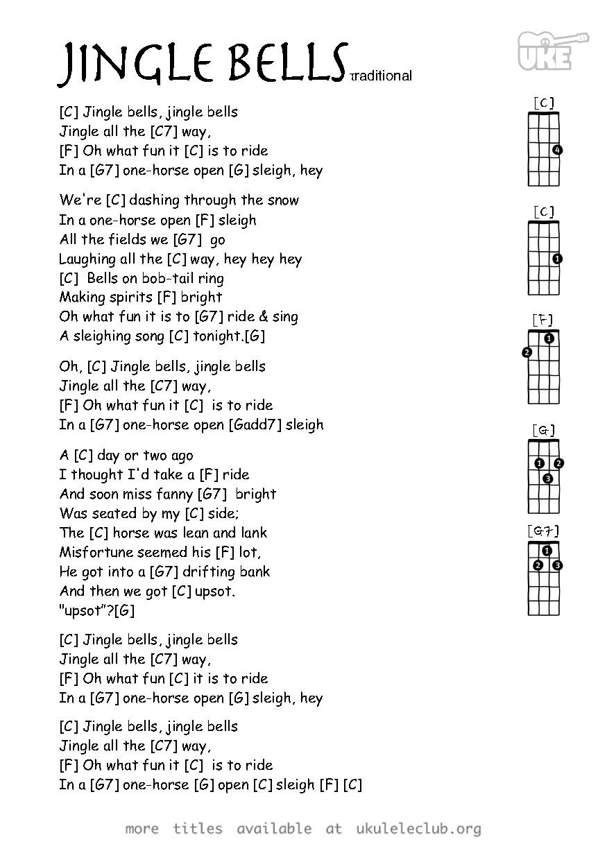 Ukulele Chords Jingle Bells By James Lord Pierpont Ukelele Chords Ukulele Songs Ukulele Chords Chart Ukelele Songs