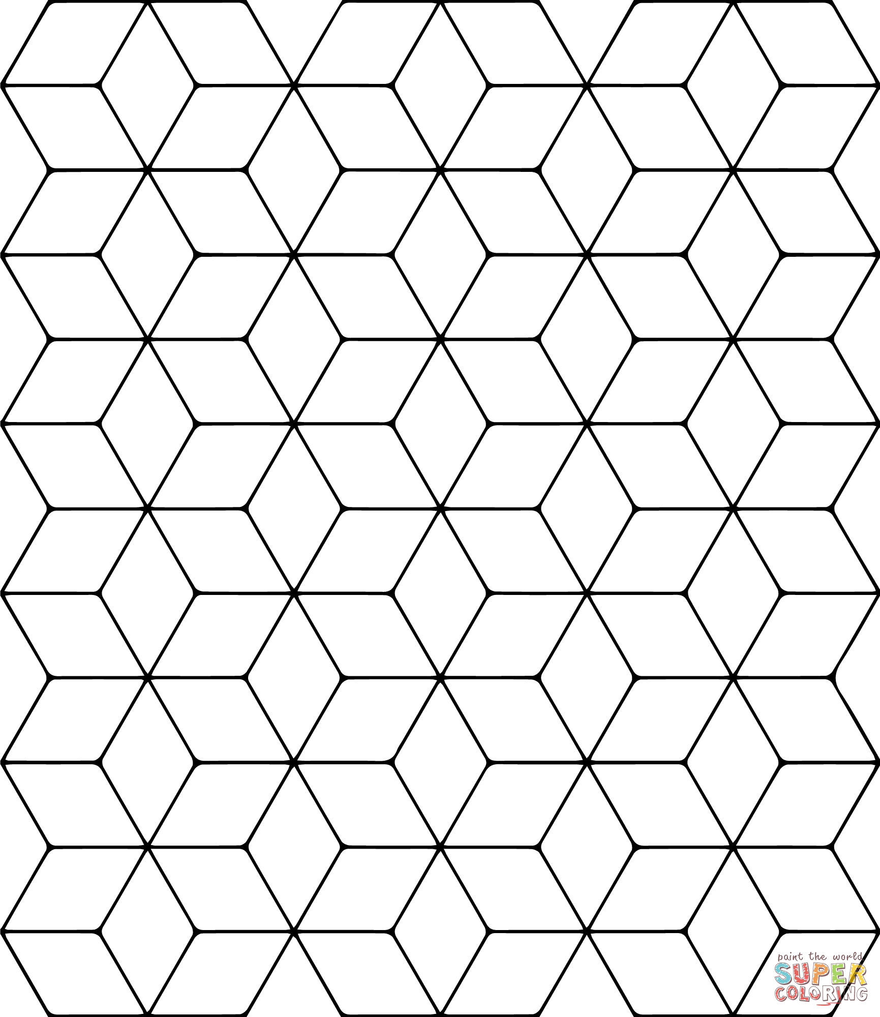 Tessellation with Rhombus coloring page from Tessellations