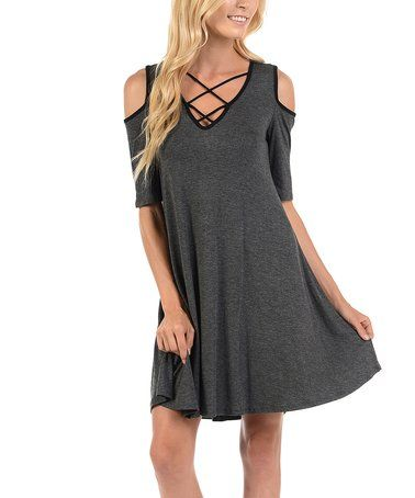 Love this Charcoal Gray Crisscross Cold-Shoulder Dress on #zulily! #zulilyfinds