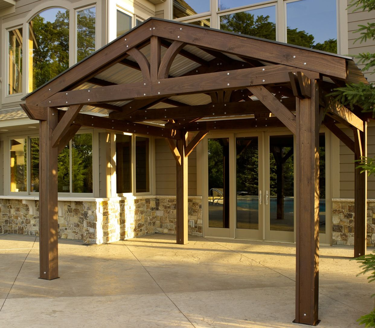 The Lodge Pergola gives the feeling of an authentic mountain lodge.  Constructed from Premium appearance grade Douglas Fir; a renewable resource  from the ... - With Oklahoma Hail We Need To Add A Carport, This Would Be A Great