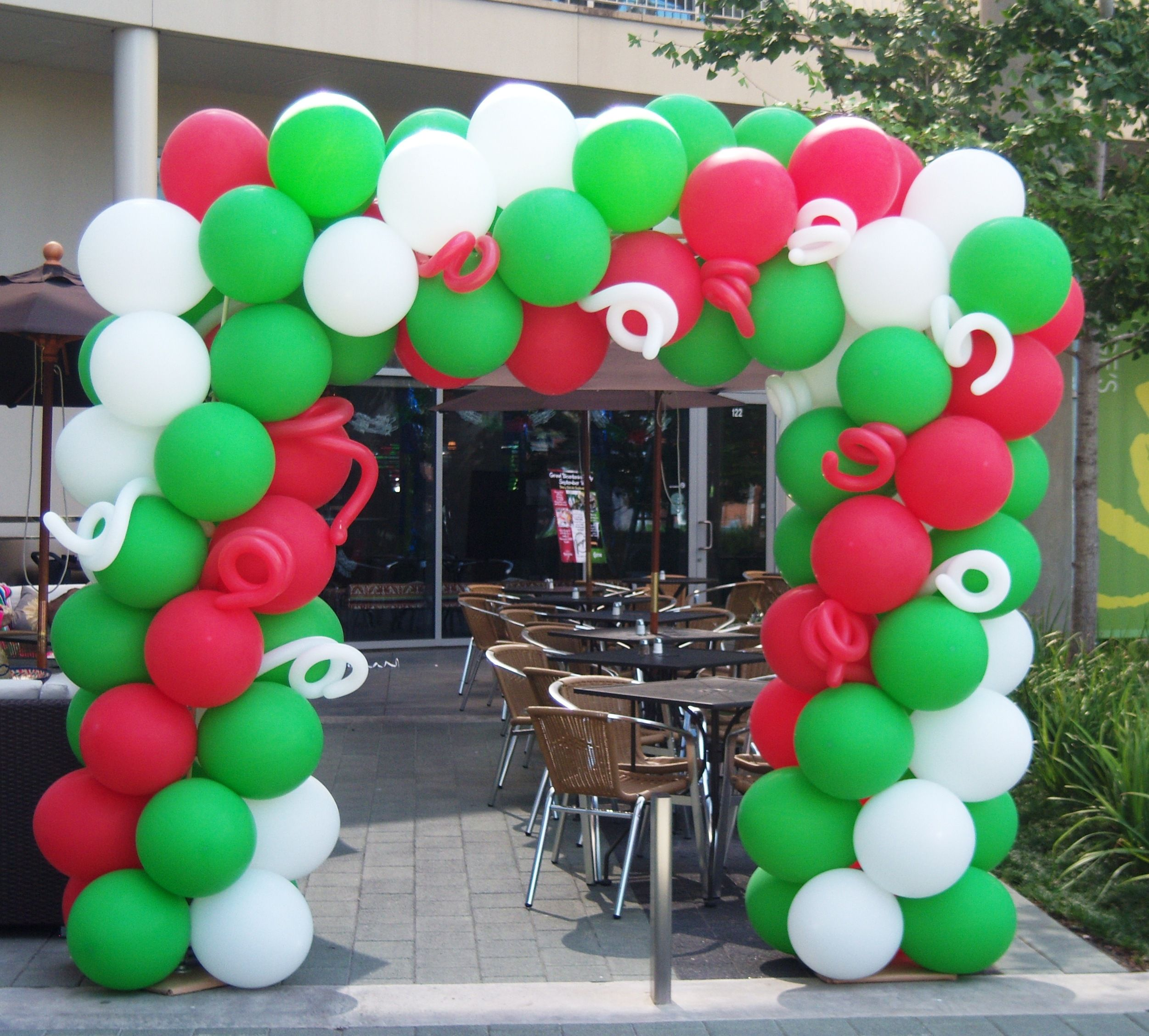 Mexican Independence Day with oversized outdoor balloons