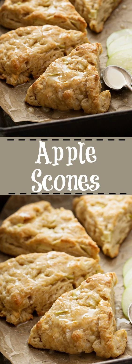 Apple Scone Recipe with icing glaze from @kitchenmagpie! These are perfect for fall.